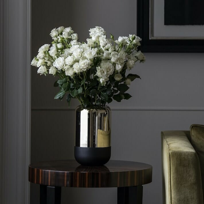 Bloom Flower Delivery | Tall Gold Mirror & Black Glass Vase