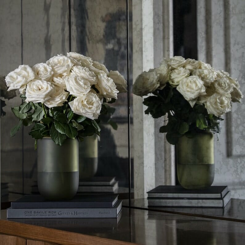 Bloom Flower Delivery | Olive Green & Brass Glass Vase