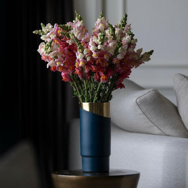 Bloom Flower Delivery | Deco Blue & Brass Vase