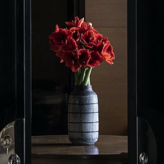 Bloom Flower Delivery | Large Black Glass Tribal Vase