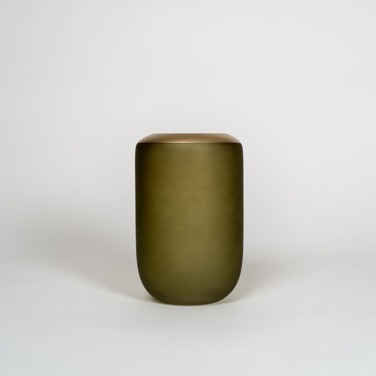 Bloom Flower Delivery | Olive Green & Brass Glass Vase