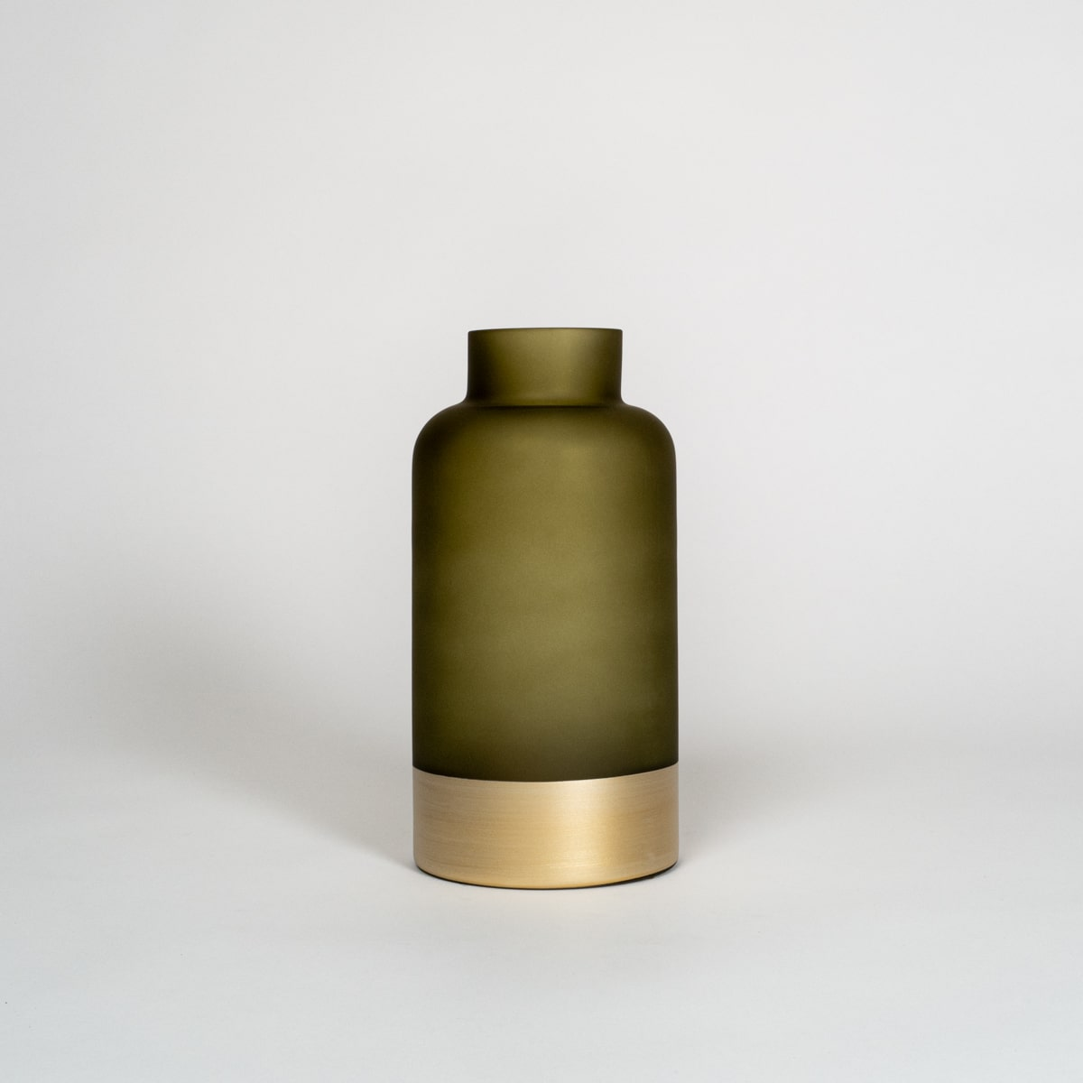 Bloom Flower Delivery | Olive Green & Brass Bottle Vase