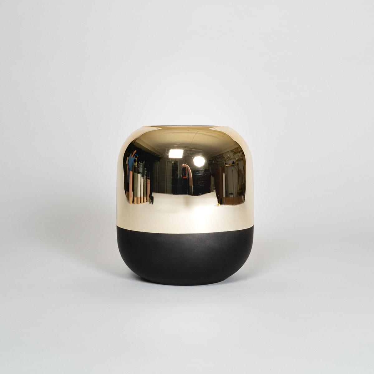 Bloom Flower Delivery | Gold Mirror & Black Glass Vase