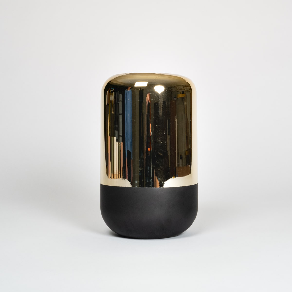 Bloom - Tall Gold Mirror & Black Glass Vase